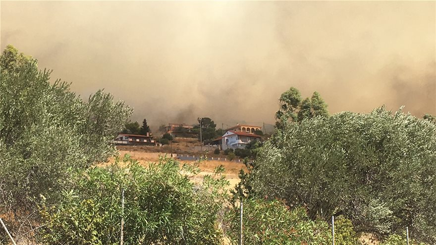 Μαίνεται η Φωτιά κοντά σε σπίτια στα Καλύβια – Εκκενώθηκε και ο οικισμός Όλυμπος