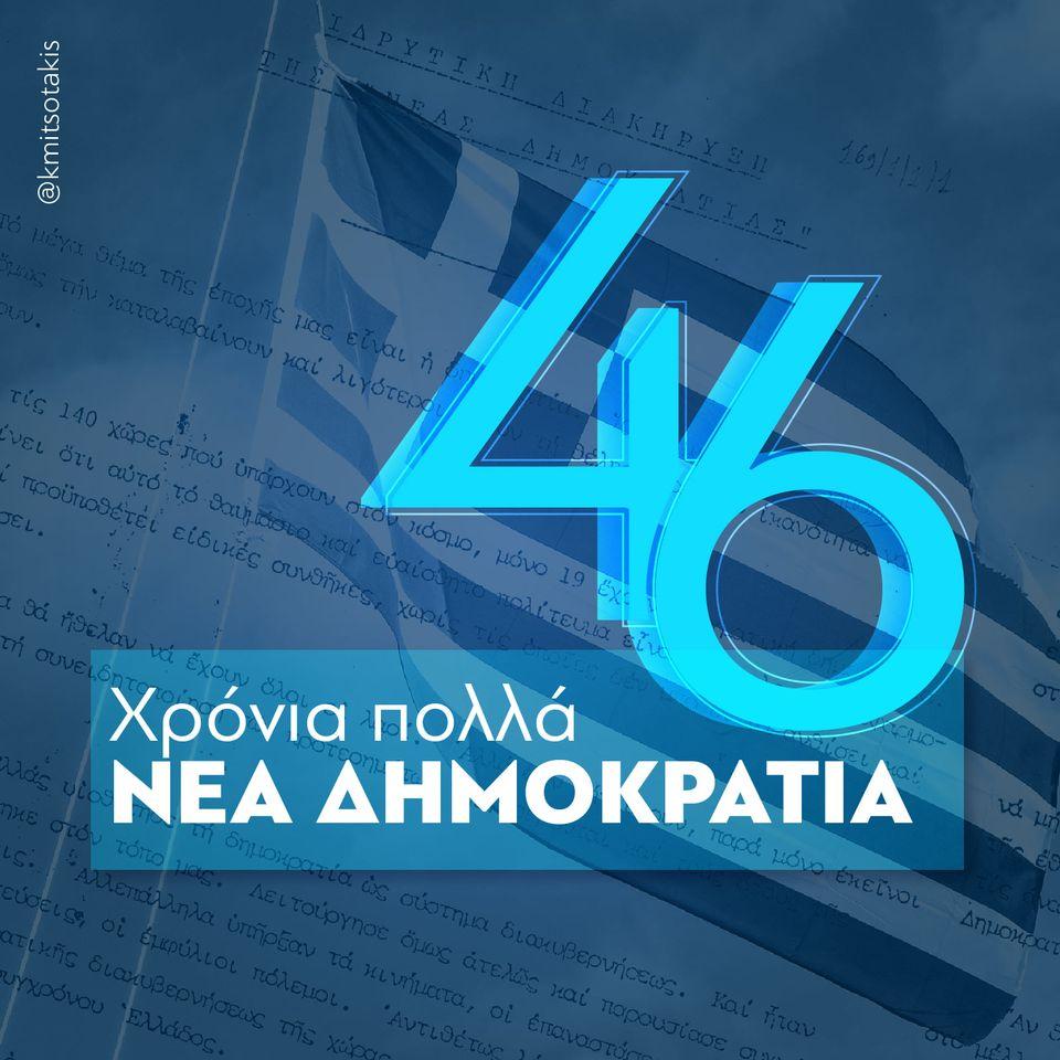 """Η ΝΔ έχει γενέθλια και γίνεται ετών 46 – Πως ευχήθηκε """"χρόνια πολλά"""" ο Κυριάκος Μητσοτάκης"""