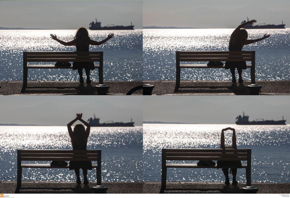 Γυμναστική αλλιώς… στα χρόνια του lockdown – Στιγμιότυπο από την νέα παραλία Θεσσαλονίκης