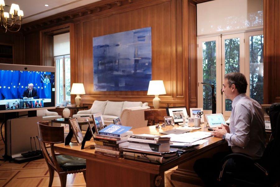Σε τηλεδιάσκεψη για την προετοιμασία του επικείμενου Ευρωπαϊκού Συμβουλίου συμμετείχε ο πρωθυπουργός – ΦΩΤΟ
