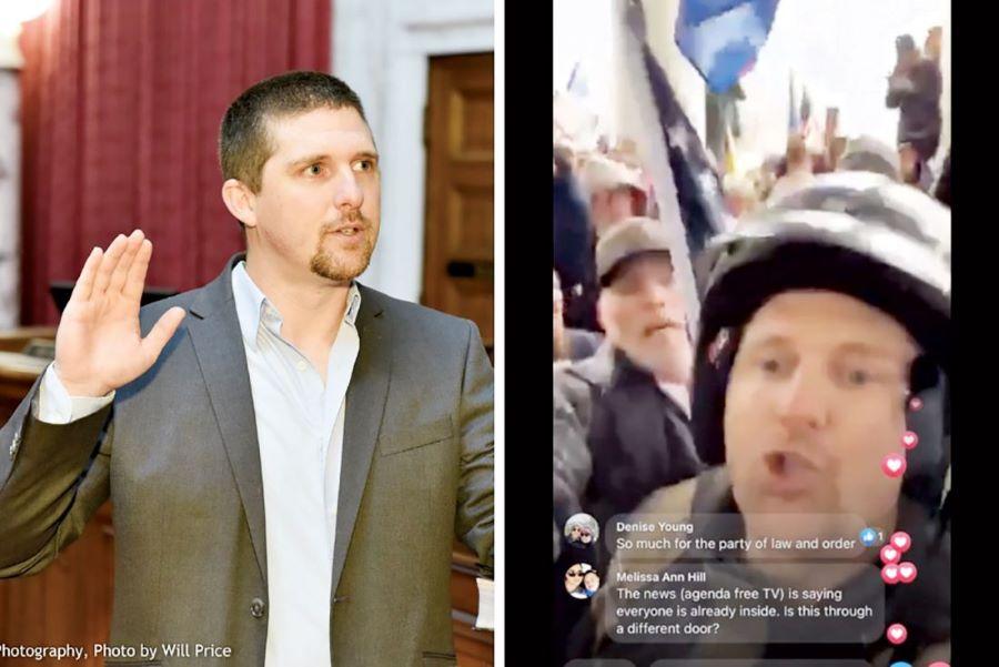 Ο Βουλευτής των Ρεπουμπλικάνων Ντέρεκ Έβανς ανάμεσα στους εισβολείς του Καπιτωλίου – Ο εισαγγελέας απήγγειλε κατηγορίες εναντίον του – BINTEO