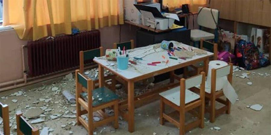 """Τρόμος στην Κέρκυρα στο """"πρώτο"""" κουδούνι: Έπεσαν σοβάδες από το ταβάνι σε νηπιαγωγείο – Από θαύμα δεν τραυματίστηκαν παιδιά – ΒΙΝΤΕΟ"""