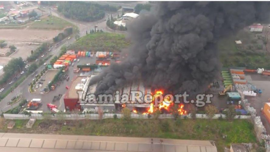 Μεγάλη φωτιά σε εργοστάσιο ανακύκλωσης στο Σχηματάρι – Με εγκαύματα ο ιδιοκτήτης – ΒΙΝΤΕΟ – ΦΩΤΟ
