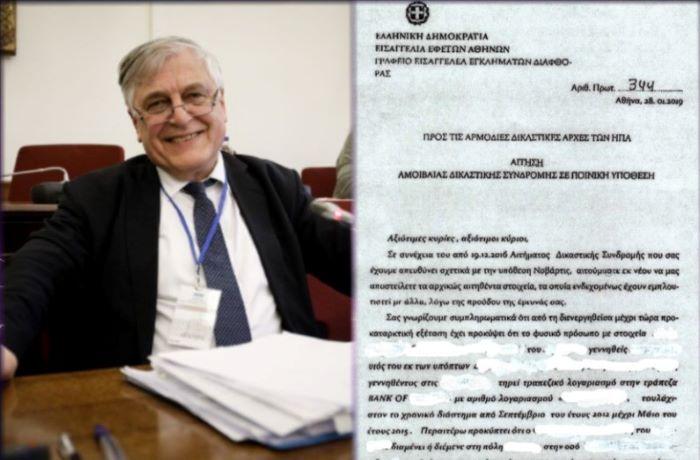 """Έγγραφα Αγγελή: """"Η Εισαγγελία Διαφθοράς ήξερε τον λογαριασμό του υιού πολιτικού που με καταγγέλλει ότι αρνήθηκα να παραλάβω"""""""