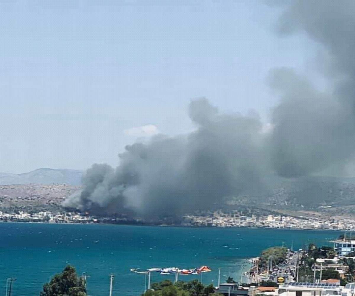 Μεγάλη φωτιά στη Σαλαμίνα κοντά σε σπίτια – Συναγερμός στην Πυροσβεστική – ΒΙΝΤΕΟ – ΦΩΤΟ