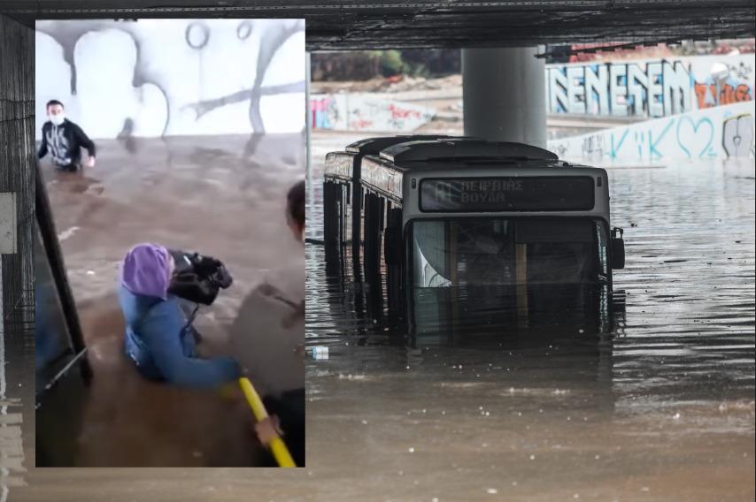 """Κακοκαιρία """"Μπάλλος"""": Καρέ-καρέ η αποβίβαση επιβατών από το λεωφορείο που βουλιάζει – ΒΙΝΤΕΟ"""